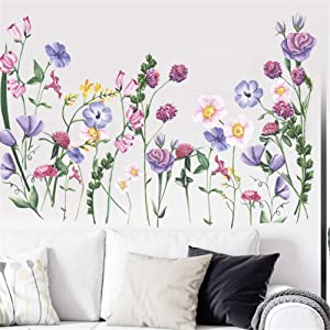 Garden Forest Plants Colorful Vines Flowers Butterfly Kid's Room Wall Sticker Art Home Decor Mural Decal for Classroom Bedroom Living Room Wall Home Decoration Room Nursery (Purple)