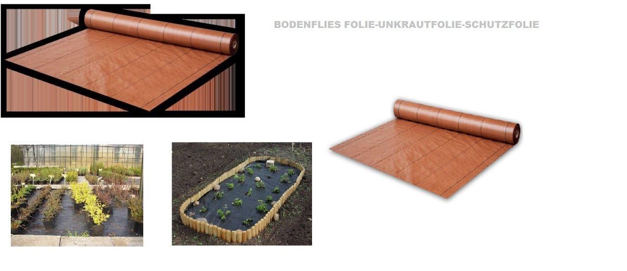 1,00 x 100m (100m²) -Bodengewebe Unkrautfolie- 94g/qm Mulchfolie Unkrautschutzfolie Unkraut-Braun