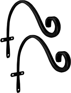 Gray Bunny Hand Forged Curved Hook, 15 in, Set of 2, Black, Heavy Duty, Beautiful Wrought Iron Outdoor Mounted Upturned Hook for Bird Feeders, Plants, Lanterns, Wind Chimes, As Wall Brackets