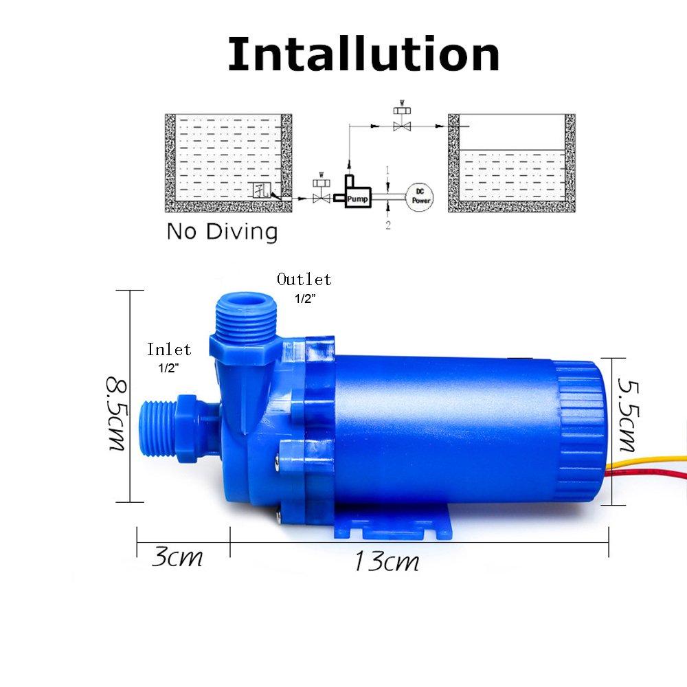 als Kaltwasserpumpe f/ür Solarheizungen,Springbrunnen NUZAMAS 12V 85W DC Wasserpumpe 14L // min Wassers/äule 8m Aquarien mit Wasserzirkulation