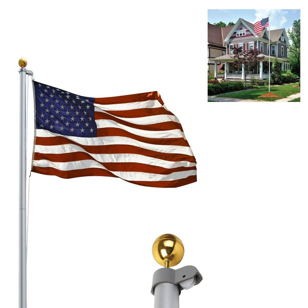 20ft Aluminum Sectional Flagpole Kit Outdoor Halyard Pole + 1PC US American Flag 21 product ratings