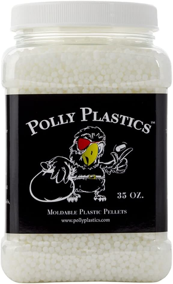 Polly Plastics Moldable Plastic Pellets for Cosplayers and Hobbyists in EZ Grip Jar with Idea Booklet (35 oz)