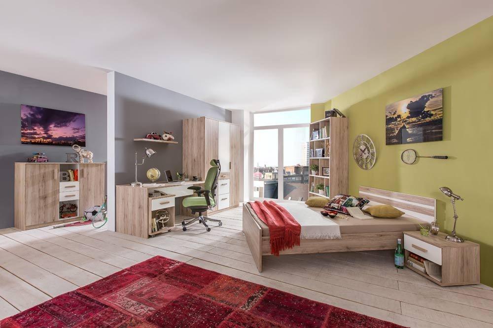 lifestyle4living 3-TLG. Jugendzimmer in alpinweiß und Sanremo Eiche Nachbildung mit Kleiderschrank (B. ca. 135 cm), Bett (90x200 cm) und Schreibtisch (B: ca. 140 cm)