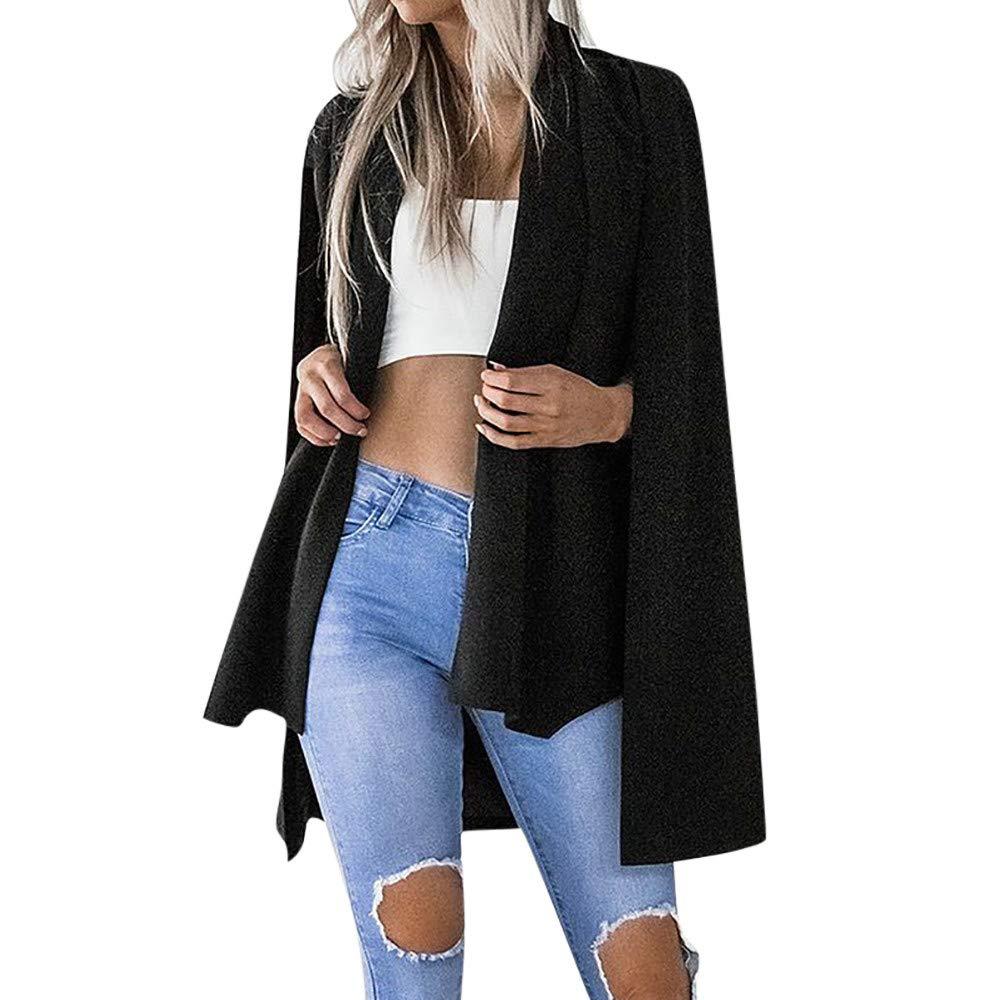 Lazzboy Womens Blazer Jacket Coat Long Sleeve Notched Pure Colour Fashion Office Stylish Ladies Layered Duster Blazer