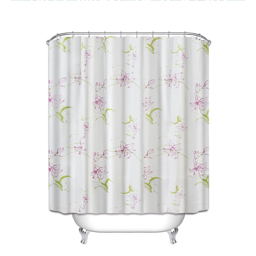 Curtain Waterproof Shower Curtain, Mildew Thickening Bathroom Curtains, PEVA Fabrics, Purple Lily Flower Printing Shower Curtain Shower Equipment (Size : 180180cm)