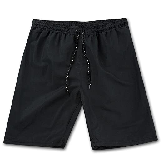 cff7c328ef ZENRICK 9'' Black Men's Quick Dry Swim Trunks Bathing Suit Beach Shorts  Plain Swimming