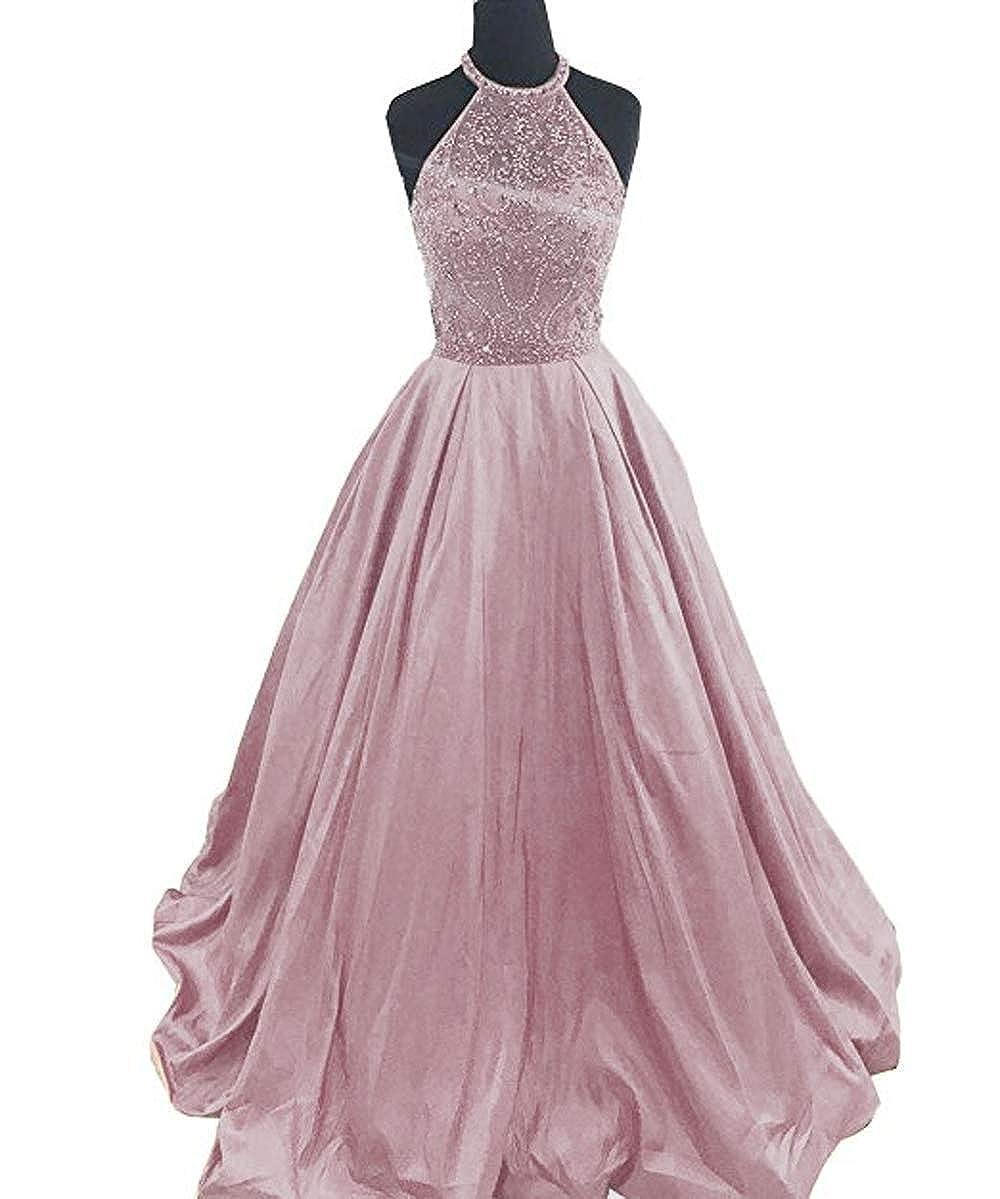 bluesh Lnxianee Women's Halter Beaded Prom Dresses Long Formal Satin Party Evening Gowns