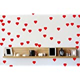 45 Red Love Hearts Wall Art Vinyl Stickers 30mm x 30mm