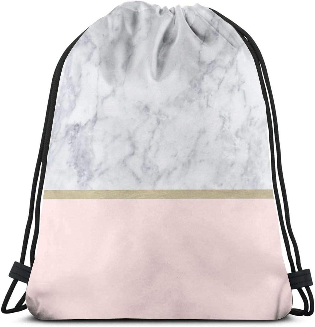 Amazon Com Marble Gold Blush Pink Pattern Drawstring Backpack Gym Sackpack For Men Women School Travel Bag Drawstring Bags