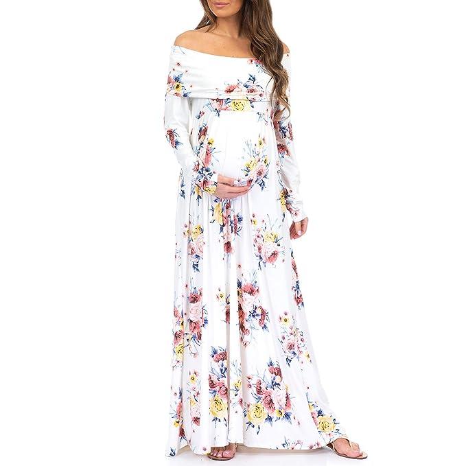 18d3c2562 De la Mujer Sheer Floral sobre el Hombro Ruched Maternidad y ...