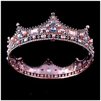 Amazon.com   Xiwstar Baroque Vintage Black Rhinestone Beads Round Big Crown  Wedding Hair Accessories Luxury Crystal Queen King Crowns Bridal Tiaras    Beauty e2a2cd02cda9