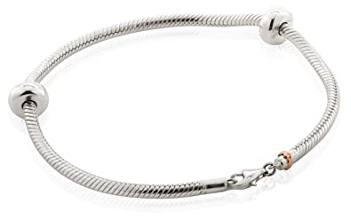 Clogau Beads Womens Silver 9ct Rose Gold Cariad Heart Milestones Bracelet - 19cm JWvfCdVk