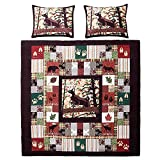 3pc Brown Red Plaid King Quilt Set, Cabin Country Sqaures Tartan Lumberjack Pattern Cottage Woods Hunting Deer Moose Horizontal Vertical Stripes, Cotton, Lodge Animal Themed Bedding