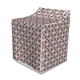 Lunarable Japanese Washer Cover, Vintage Geometric Diamond Line Pattern with Digital Effects, Suitable for Dryer and Washing Machine, 29'' x 28'' x 40'', Pale Yellow Scarlet Violet Blue