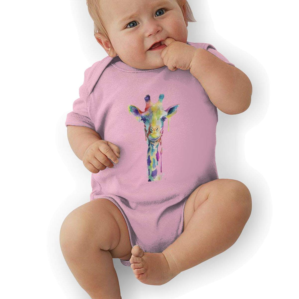 Coollifea Giraffe Waterproof Baby Romper 0-18 Months Newborn Baby Girls Boys Layette Rompers Black
