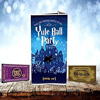 Harry Potter Yule Ball Invitation with 9 34 and knight bus tickets