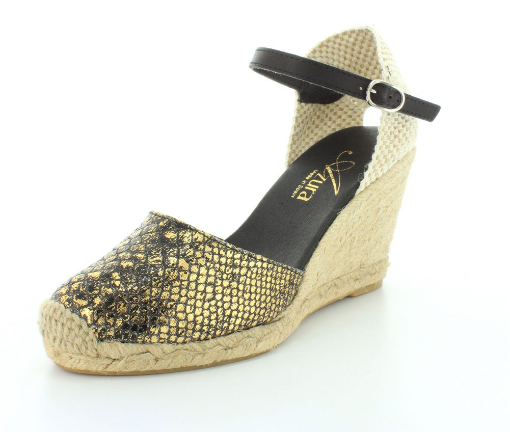 Azura Women's Lenox Buckle Cap Toe Ankle Strap Sandals B00WGOICPS 38 M EU / 7.5-8 B(M) US|Black