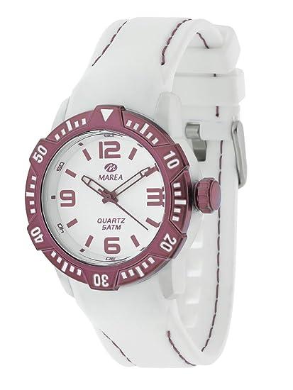 Reloj MAREA B35227/5 - Reloj mujer WR 5 atm con bisel giratorio, caja de 40 mm y correa blanca de silicona.: Amazon.es: Relojes