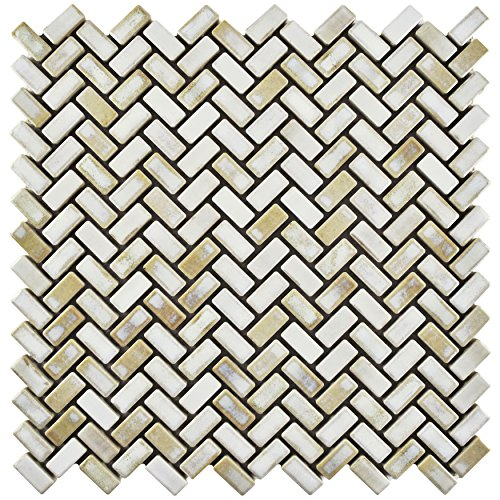 Glacier Tile Flooring - SomerTile FCPRSHGL Arcadia Herringbone Porcelain Mosaic Floor and Wall Tile, 12