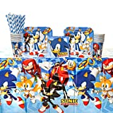 Sonic The Hedgehog Birthday Party Supplies Pack for 16 Guests: Straws, Dessert Plates, Beverage Napkins, Table Cover, and Cups