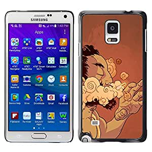 Smartphone Rígido Protección única Imagen Carcasa Funda Tapa Skin Case Para Samsung Galaxy Note 4 SM-N910F SM-N910K SM-N910C SM-N910W8 SM-N910U SM-N910 Smoke Cigar Man Cloud Art Drawing Addiction / STRONG