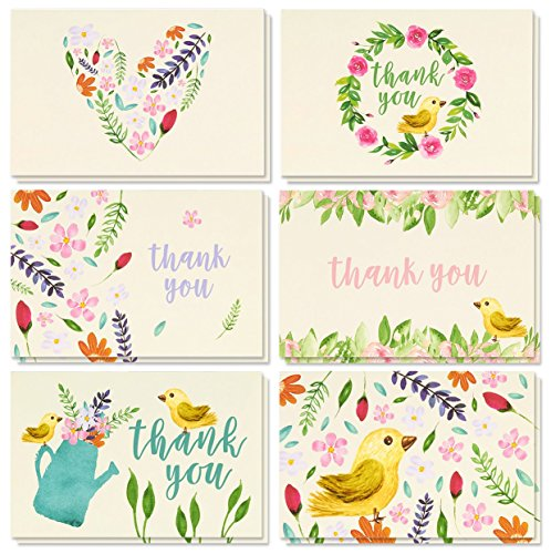 - Thank You Cards - 48-Count Thank You Notes, Bulk Thank You Cards Set - Blank on the Inside, Vintage Garden Watercolor Floral Flower Bird Designs – Includes Thank You Cards and Envelopes, 4 x 6 Inches