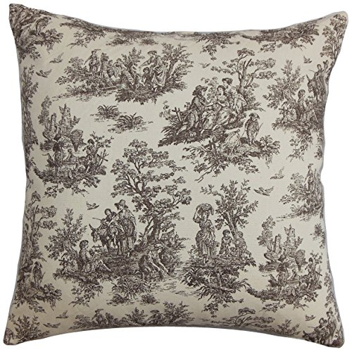 The Pillow Collection STD-PP-JAMESTOWN-CHOCOLATENATU Chocolate Natural Lalibela Toile Bedding Sham, Standard/20″ x 26″