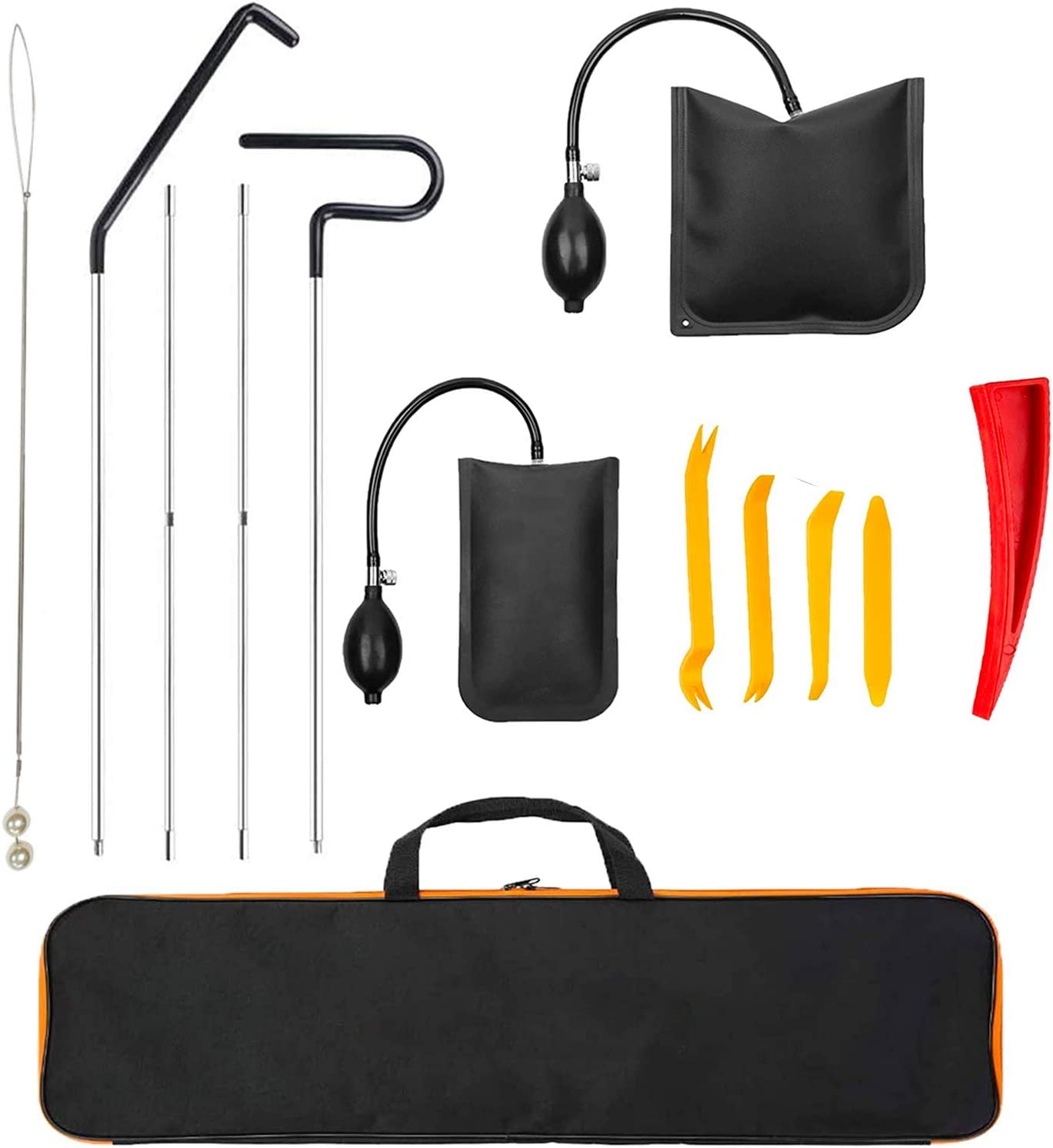 Non Marring Wedge Air Wedge Cihely Professional Car Tool Kit with Entry Long Reach Grabber Pulling Cable and Storage Bag