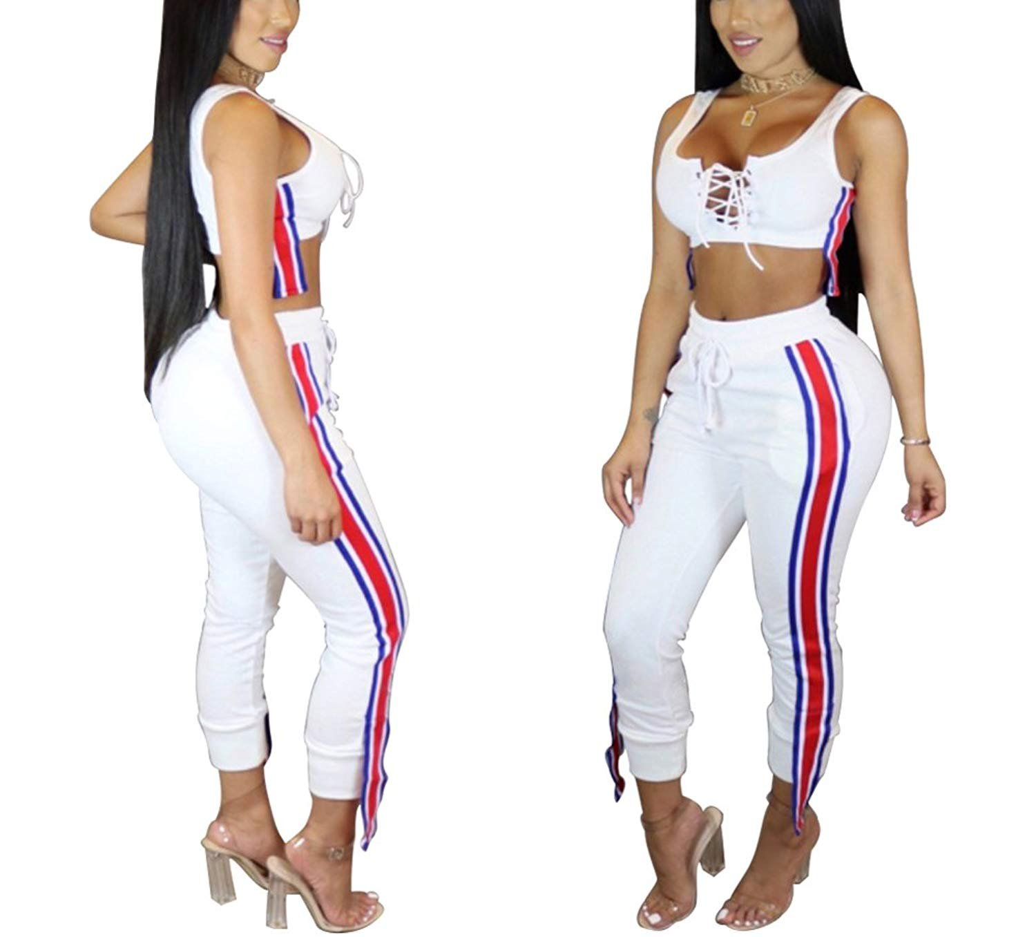 Women's 2 Pieces Outfits Lace up Crop Tank Top+Ankle Pant Sweatsuits Set Tracksuits (S, White)