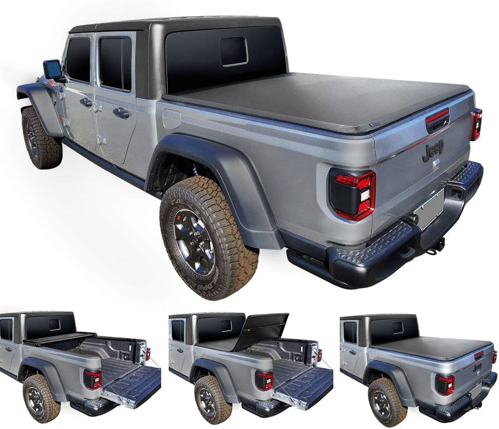 JT Without Rail System Tyger Auto T3 Tri-Fold Truck Bed Tonneau Cover TG-BC3J1060 Works with 2020 Jeep Gladiator