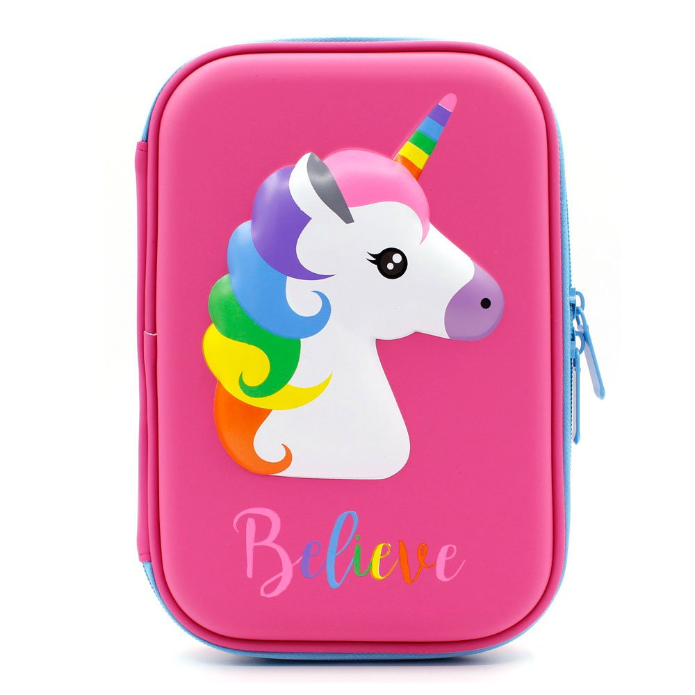 Cute Unicorn Embossed Hardtop Pencil Case - Kids Large Colored Pen Holder Box With Compartments - Girls Cosmetic Pouch Bag Stationery Organizer (Hot Pink)