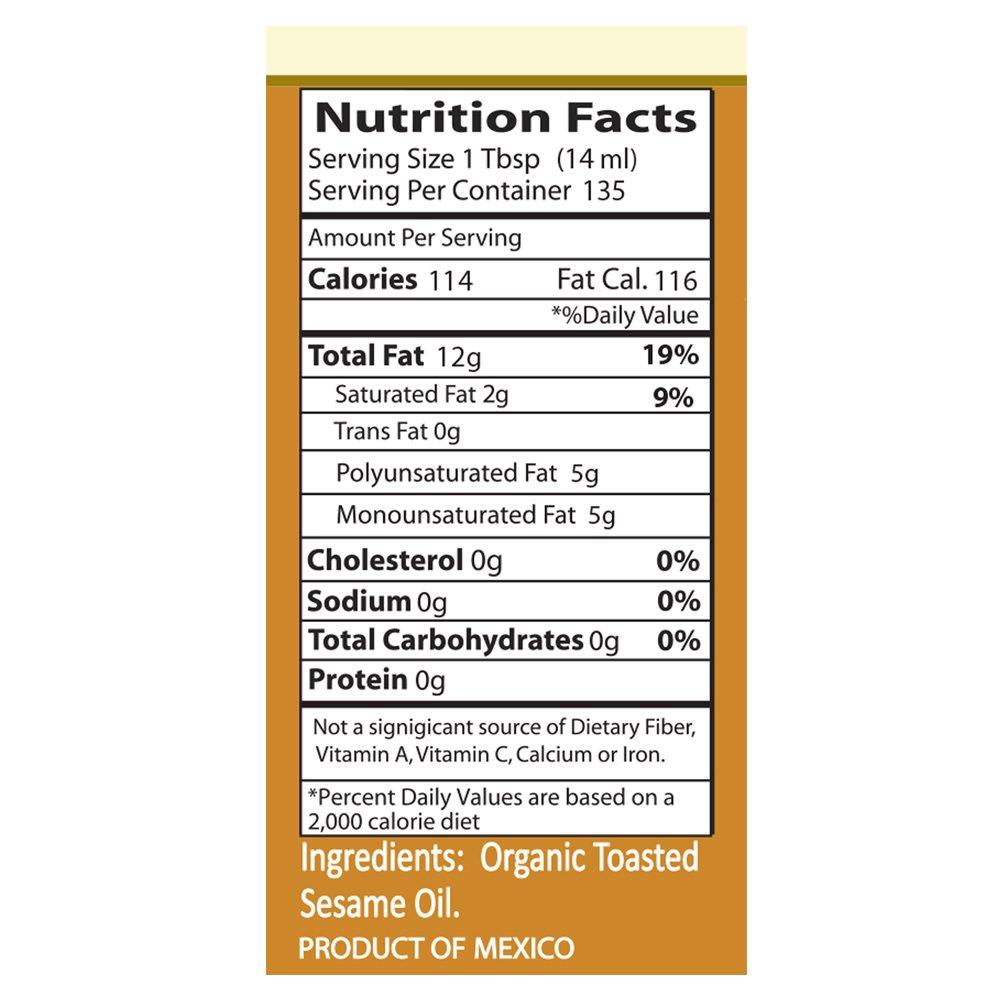 Kevala Organic Toasted Sesame Oil 64 oz (Non GMO, BPA free plastic)