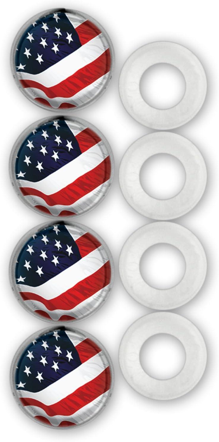 Cruiser Accessories 82300 License Plate Frame Fastener Caps USA Flag