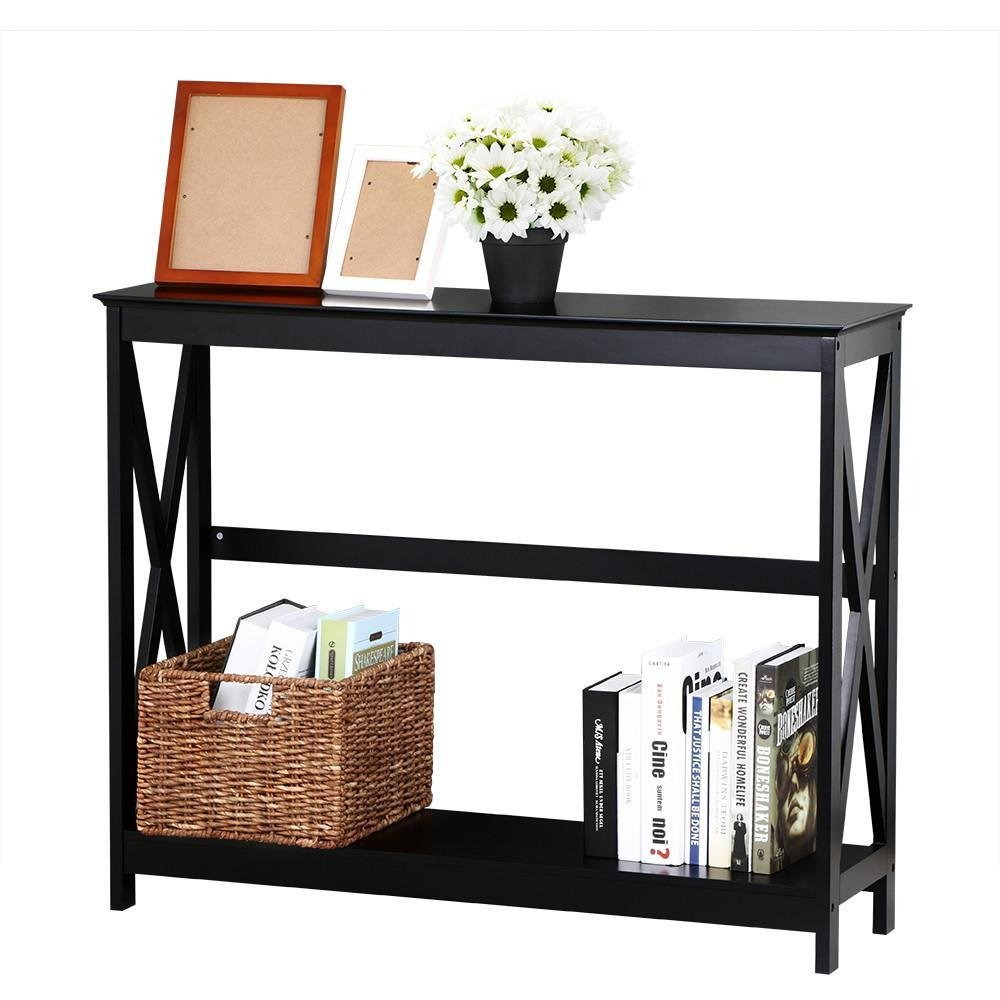 Yaheetech 2 Tier X Design Hallway Large Console Table Entryway Accent Tables with Storage Shelf Living Room Entrance Furniture (Black)