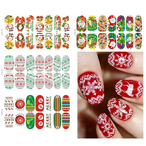 Buytra 6 Sheets Christmas Nail Art Stickers 3D Design Manicure Tips Decals Wraps Decoration for Women Girls including Snowflake, Xmas Tree, Reindeer, Santa - To Up Dress Female Celebrities As