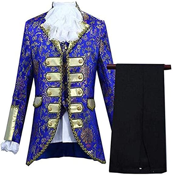 Evalent Mens European Court Dresses Five-Piece Prince Victorian Gothic Suit Stage Costume Blazer Jacket & Trousers Set