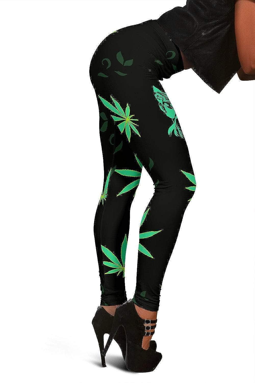 Black Pit Bull Dog Print Hemp Leaf Full Length Leggings