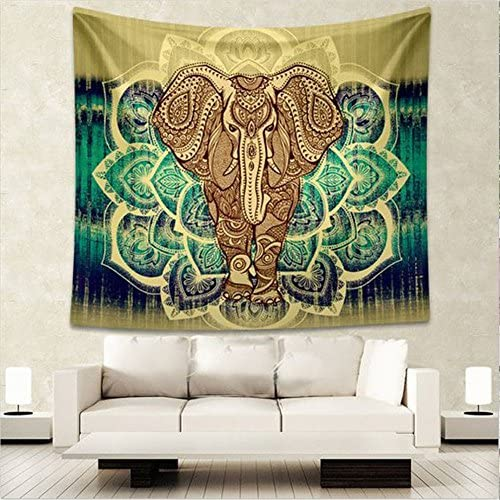 QNJins Hippie Tapestry Elephant Mandala Tapestry Wall Hanging Decor Home Hippie Bohemian Tapestry Large, Yellow Green
