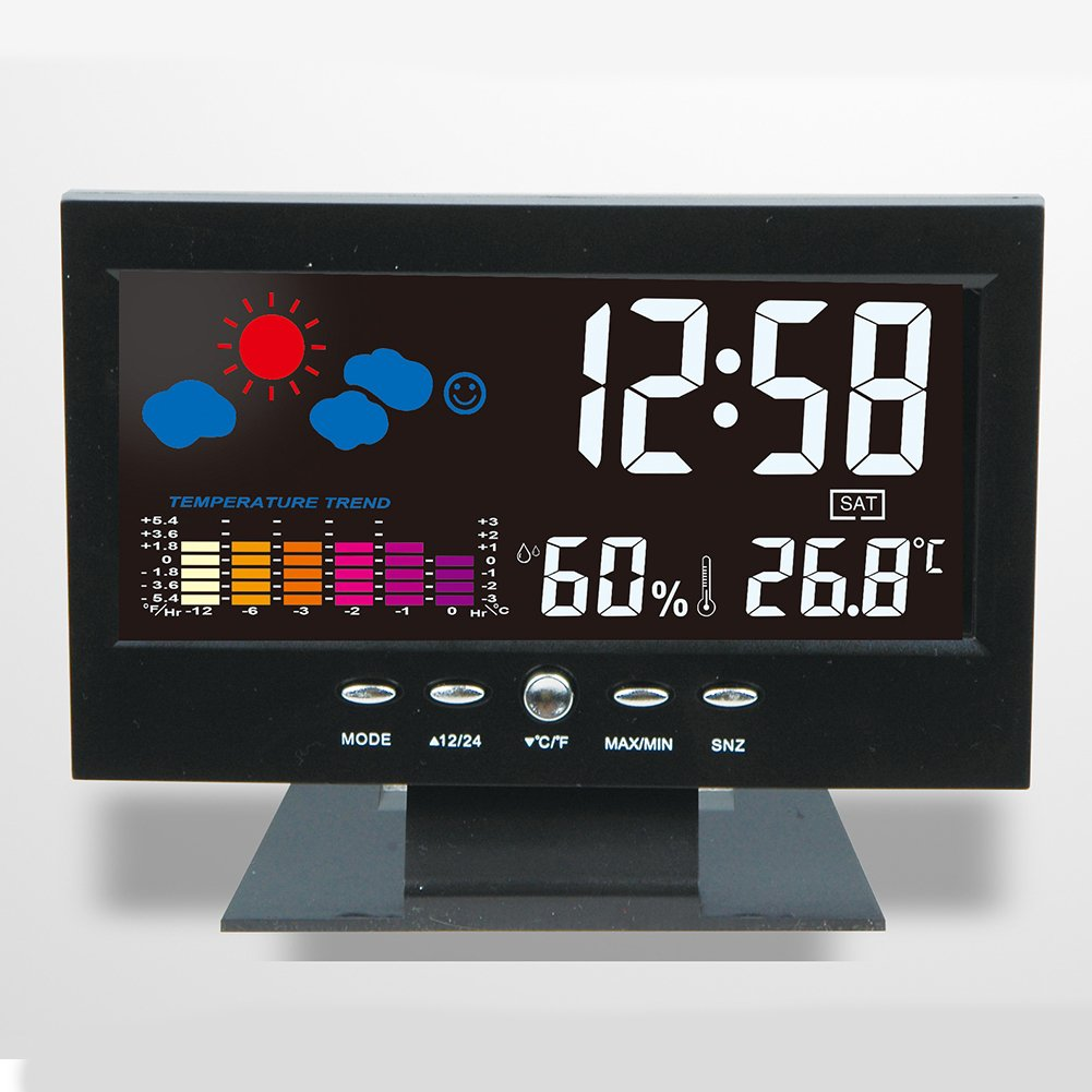 Tubwair °C/°F Multifunctional Indoor Colorful LCD Digital Temperature Humidity Meter Weather Station Clock Thermometer Hygrometer Comfort Level Weather Forecast Vioce-Activated Backlight