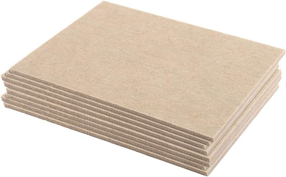 Prime-Line MP76650 Heavy-Duty Furniture Felt Pads, 1/4 in. Thick w/Self-Adhesive Backing, Beige, Large Rectangles, Pack of 8