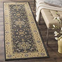 Safavieh Easy to Care Collection EZC751H Hand-Hooked Grey and Cream Runner (26 x 10)
