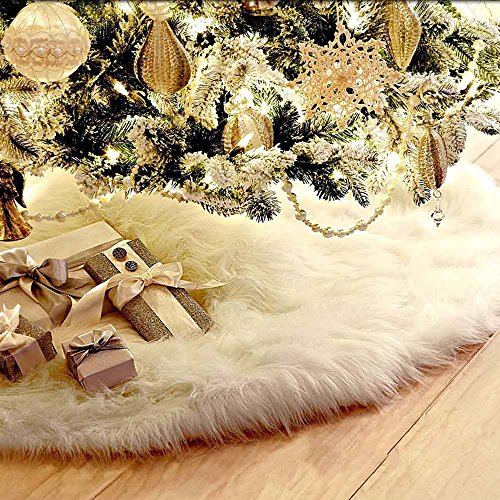 Interlink White Faux Fur Christmas Tree Skirt Xmas Tree Skirt Thick Plush Faux Fur for Christmas Holiday Party Indoor Decorations (60inch)