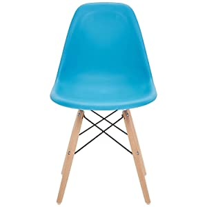Phoenix Home Kenitra Contemporary Plastic Dining Chair, Sky Blue
