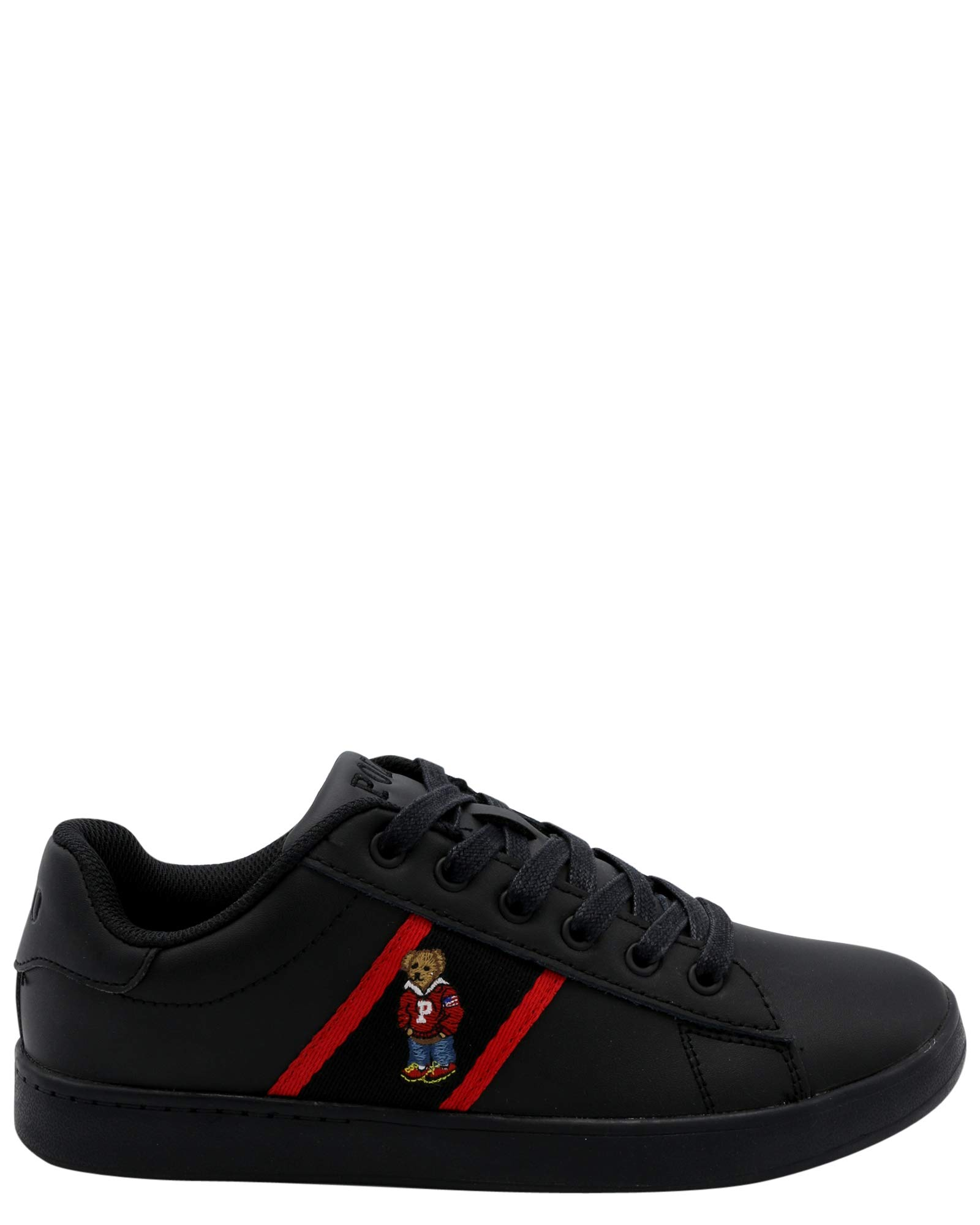 Polo Ralph Lauren Kids Quilton Bear Sneaker (5.5 Big Kid US, Black/Red)