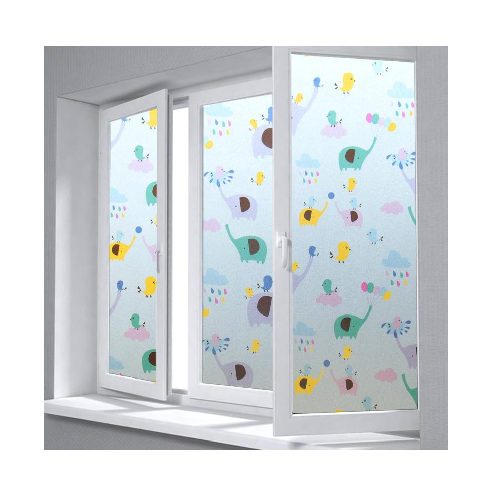 2D Tint Stained Decorative Privacy Window Films for Glass, Waterproof Covers Pads for Glass Table/Desk, Self-Adhesive No Glue UV Heat Control Design for Home Office and School (17.7×78.7)-Elephant