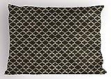 Lunarable Arabian Pillow Sham, Classical Quatrefoil Ancient Eastern Designs Geometric Monochrome, Decorative Standard Size Printed Pillowcase, 26 X 20 inches, Dark Taupe Marigold White