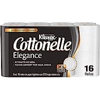 Kleenex Cottonelle Elegance Papel Higiénico, 16 Rollos Con 228 Hojas Dobles Extra Largas