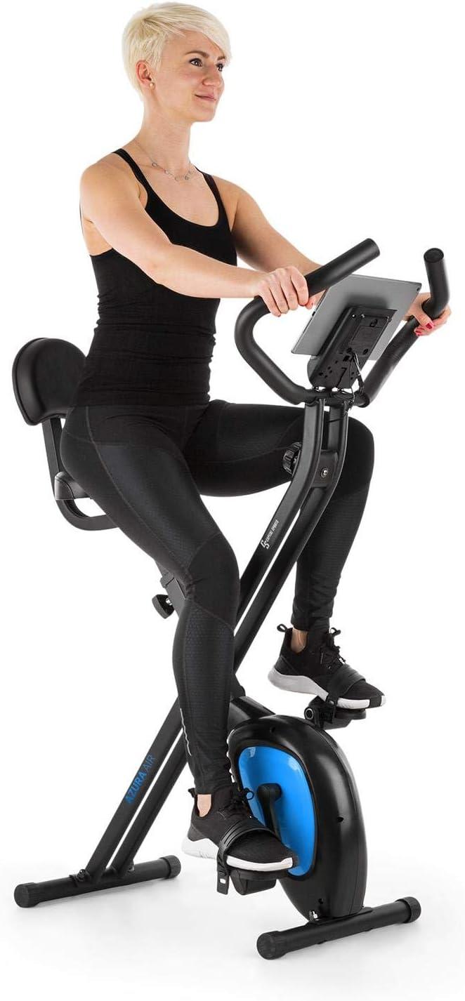 CapitalSports Azura Air - Bicicleta estática de Cardio, Ergómetro, Bici Plegable, Computador de Entrenamiento, Pulsómetro, Sillín ergonómico, Pedales Antideslizantes, Azul
