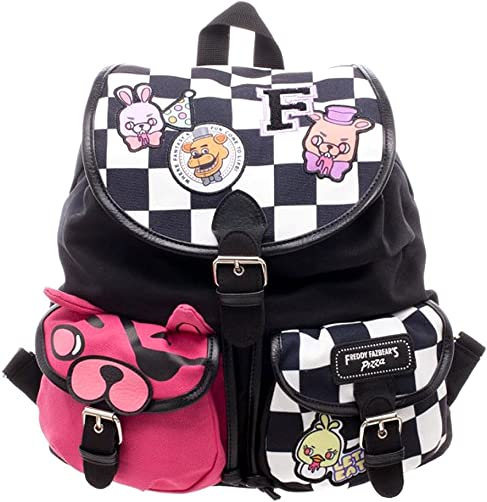 Five Nights at Freddy s Checkered Print Knapsack w Patches