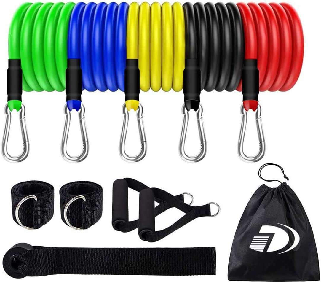 Exercise Resistance Bands Set (11pcs) Stackable Up to 100Lbs, Exercise Bands with Door Anchor, Ankle Straps & Carrying Case, Great for Home Workouts, Physical Therapy, Gym Training, Yoga